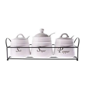 Set 3 recipiente din ceramică pentru condimente, Dakls, 430 ml, alb imagine