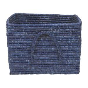 Tmavě modrý košík z rýžových vláken, 35 cm