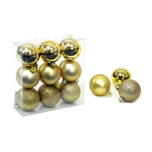 Sada 9 vianočných ozdôb v zlatej farbe Unimasa Caja