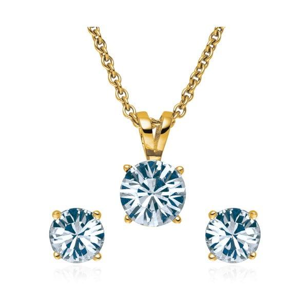 Sada náušnic a náhrdelníku Gold  Blue