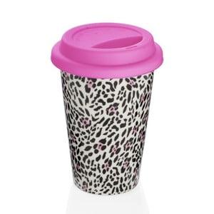 Cană de voiaj Sabichi Leopard, roz, 300 ml