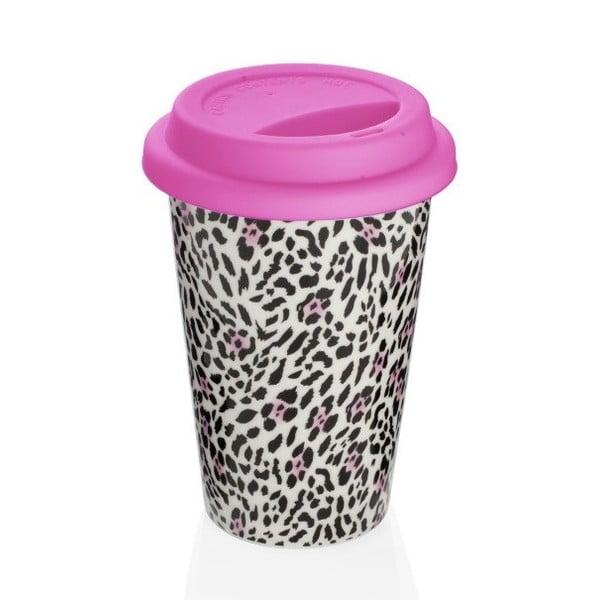 Růžový cestovní hrnek z kostního porcelánu Sabichi Leopard, 300 ml