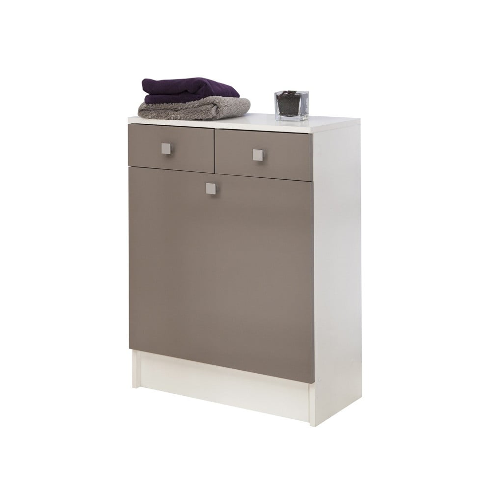 Šedohnědá koupelnová skříňka na prádelní koš Symbiosis André, šířka 60 cm