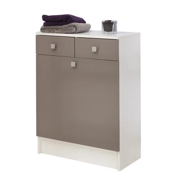 Šedohnědá koupelnová skříňka na prádelní koš TemaHome Combi, šířka60cm