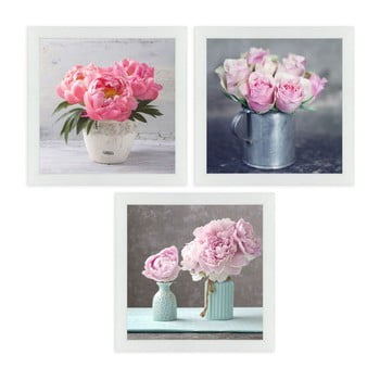 Set 3 tablouri cu ramă Unimasa Peonies poza