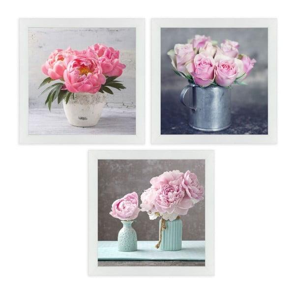 Set 3 tablouri cu ramă Unimasa Peonies
