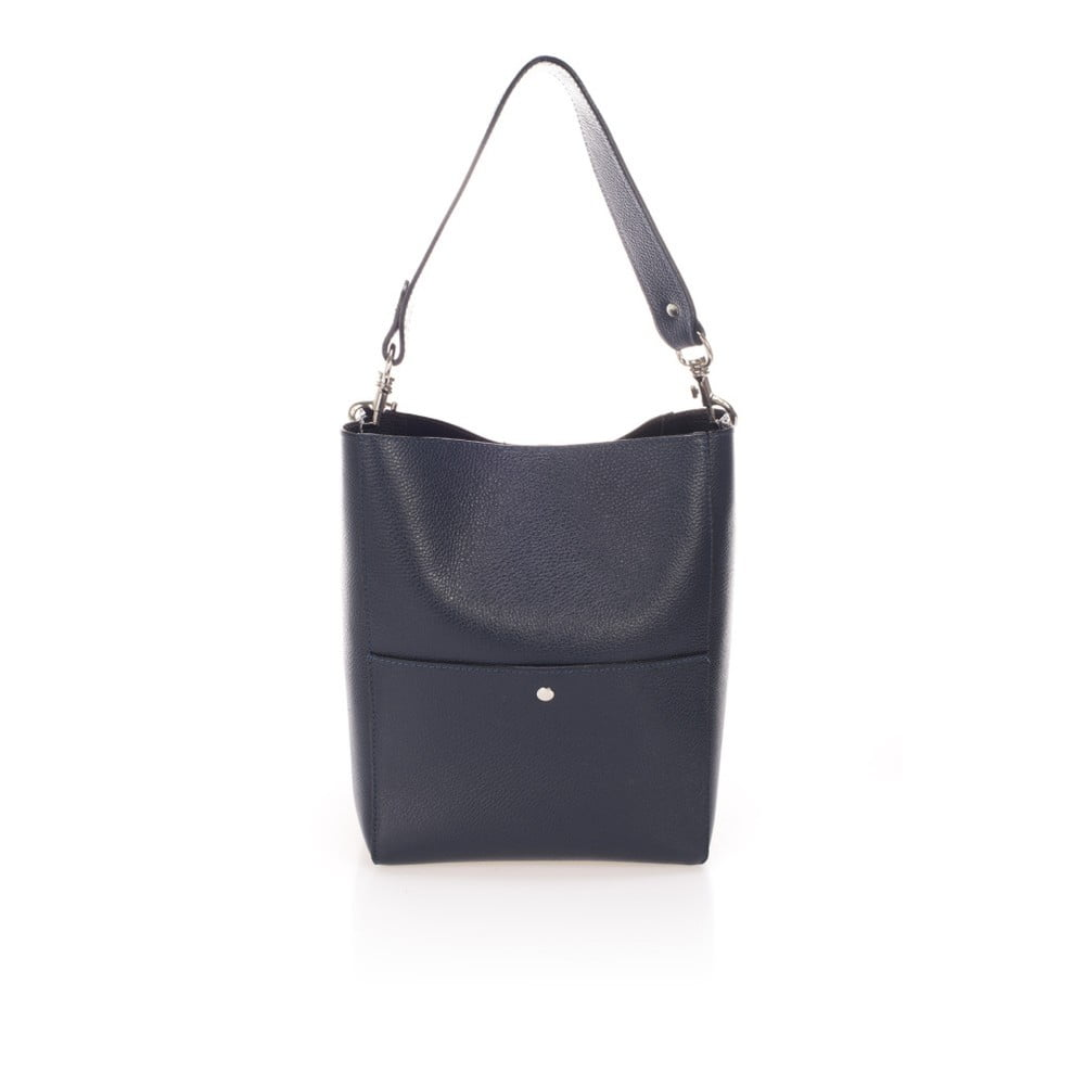 Tmavě modrá kožená kabelka Giulia Massari Fiora