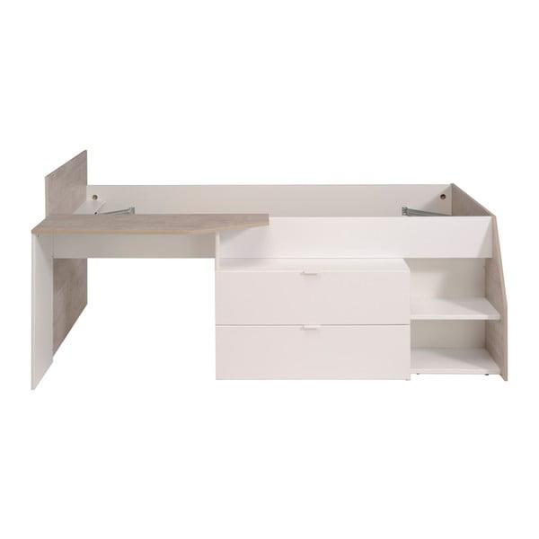 Jasnoszare łóżko 1-osobowe z 2 szufladami i biurkiem Parisot Apollina, 90x190cm