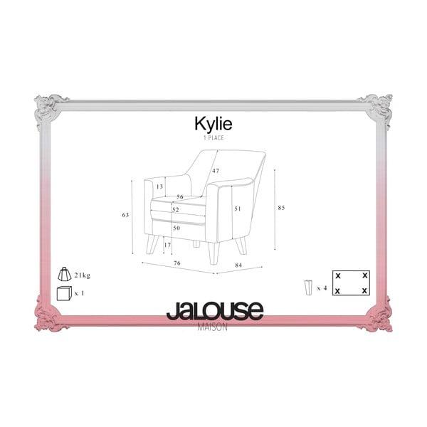 Červené křeslo Jalouse Maison Kylie