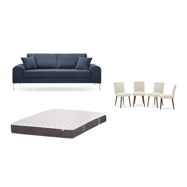 Set canapea albastru închis cu 3 locuri, 4 scaune crem, o saltea 160 x 200 cm Home Essentials