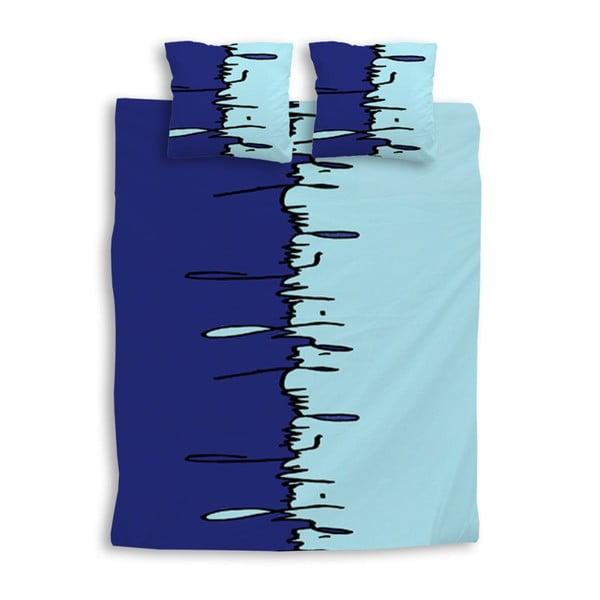 Povlčení na dvoulůžko Graffiti Bleu King, 240x220 cm