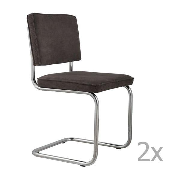 Ridge Rib 2 db-os sötétszürke székkészlet - Zuiver