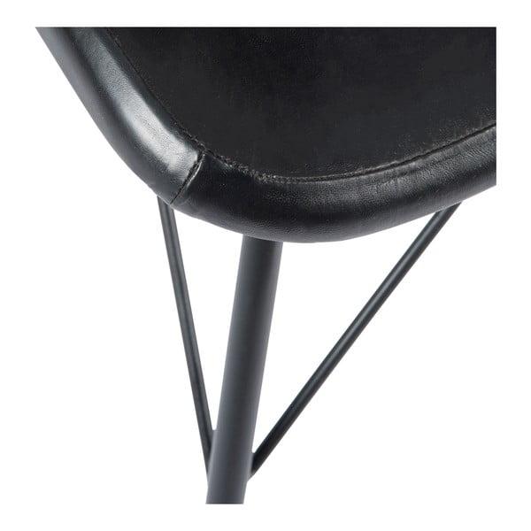 Židle s koženým potahem Cross, černá