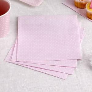Sada 16 růžových papírových ubrousků Neviti Polka Dot
