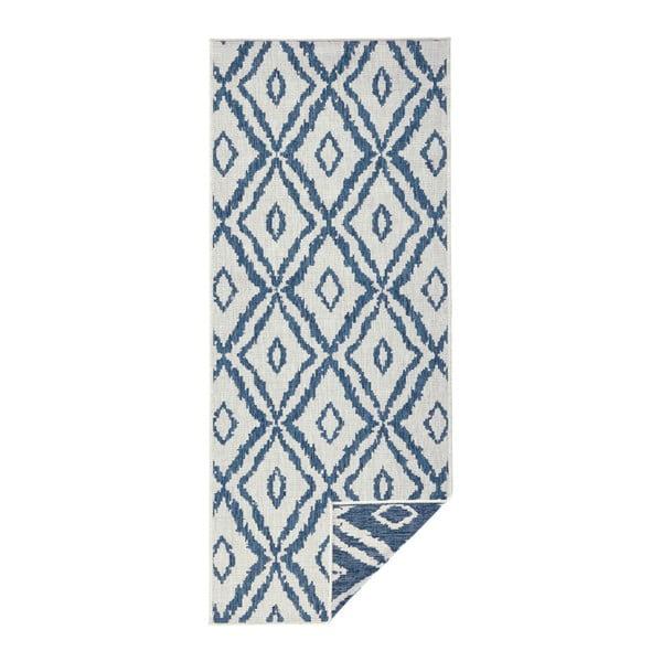 Modro-bílý venkovní koberec Bougari Rio, 80x350 cm
