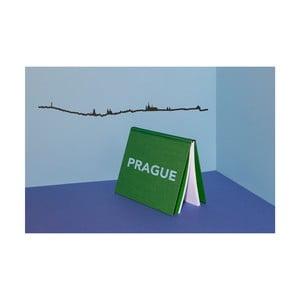 Černá nástěnná dekorace se siluetou města The Line Prague XL