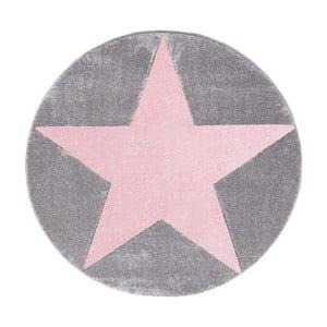 Růžovošedý dětský koberec Happy Rugs Round, Ø133cm