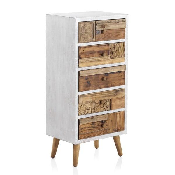 Dulap cu detalii albe și 5 sertare Geese Rustico Puro, înălțime 105 cm