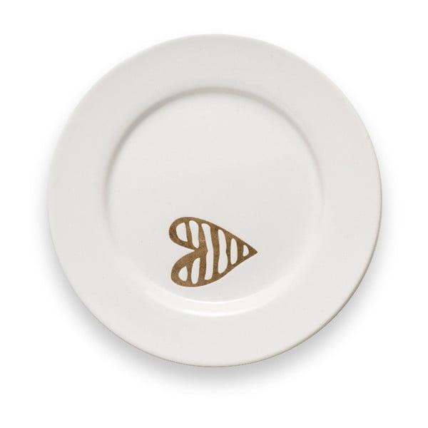 Bílý kameninový dezertní talíř Brandani Batticuore