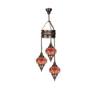 Skleněná ručně vyrobená závěsná lampa  Three Fire, ⌀13cm