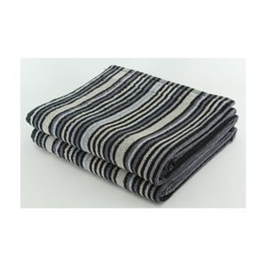 Set 2 osušek Black Stripes, 70x140 cm