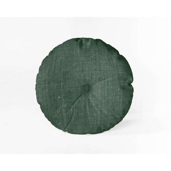 Pernă Linen Couture Cojin Redondo Dark Green, ⌀ 45 cm, verde închis