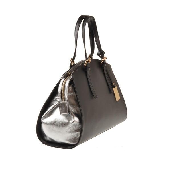 Kožená kabelka Emilio Masi Aston, stříbrná/černá
