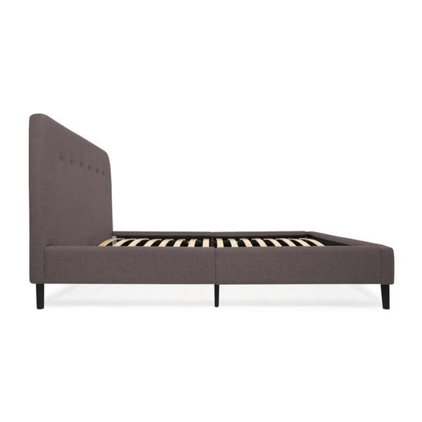 Anthracitově šedá dvoulůžková postel s černými nohami Vivonita Mae Queen Size, 160 x 200 cm