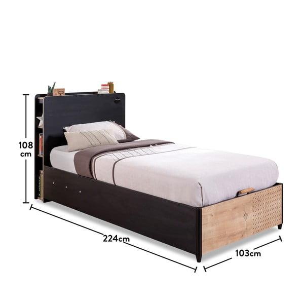 Černá jednolůžková postel s úložným prostorem Black Bed With Base, 100 x 200 cm