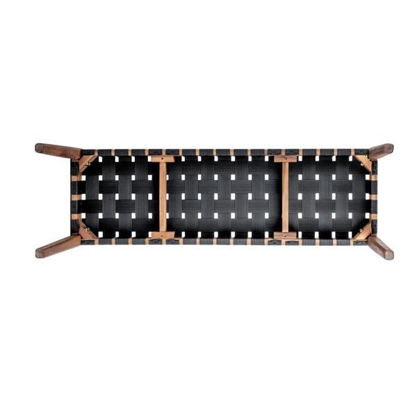 Černá lavice z akáciového dřeva s nylonovým potahem Leitmotiv Weave