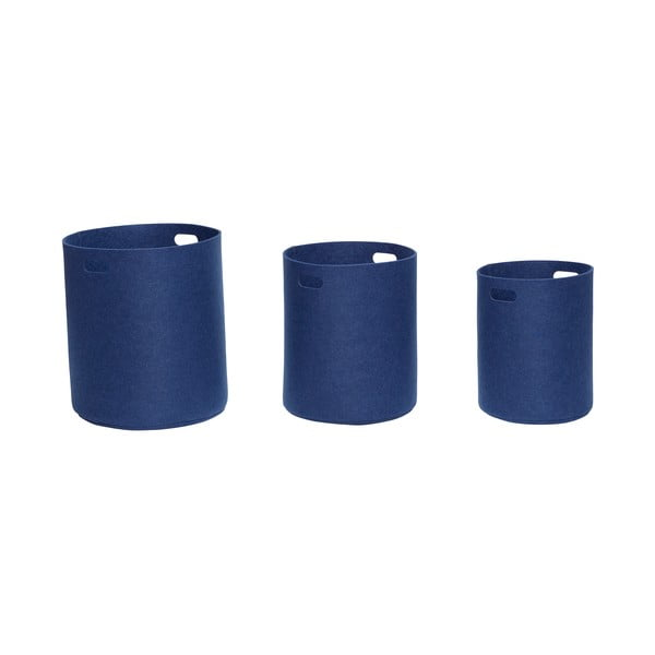 Sada 3 tmavě modrých úložných košíků Hübsch Azuleo