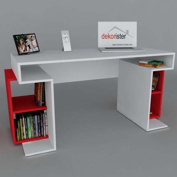 Pracovní stůl Monument White/Red, 60x140x75 cm