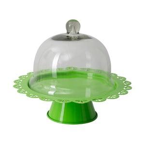Suport servire tort cu capac sticlă Mauro Ferretti, verde, Ø 27 cm