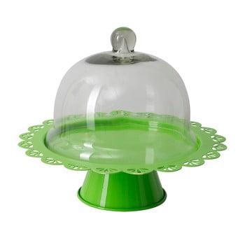 Platou cu picior și capac sticlă Mauro Ferretti, verde, ø 27 cm