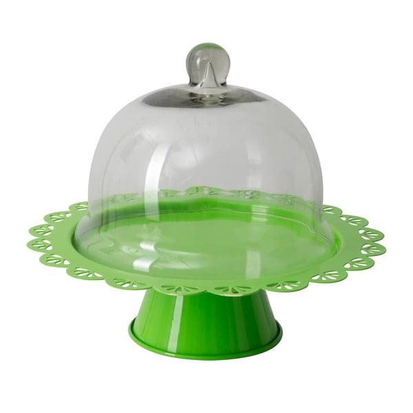 Zielona patera na tort ze szklanym kloszem Mauro Ferretti Dolci, ⌀ 27,5 cm