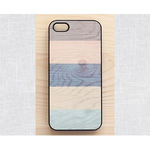 Obal na iPhone 4/4S, Pastel Stripes on wood/black