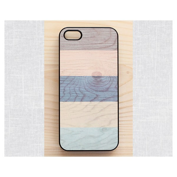 Obal na iPhone 5, Pastel Stripes on wood/black