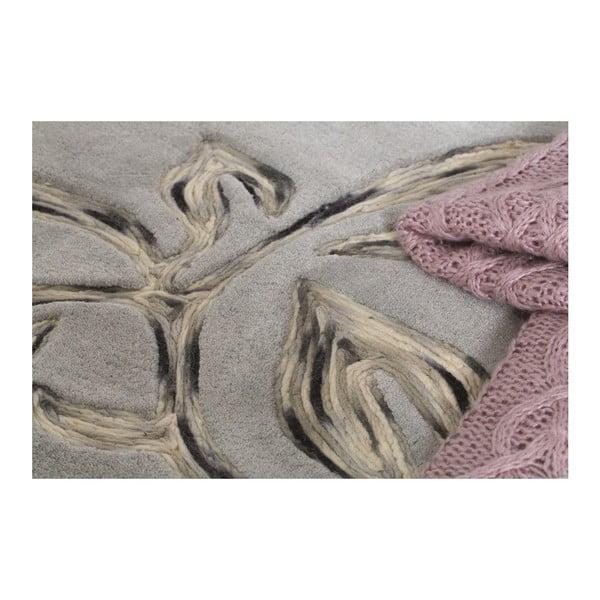 Vlněný koberec Florali 120x170 cm, šedý