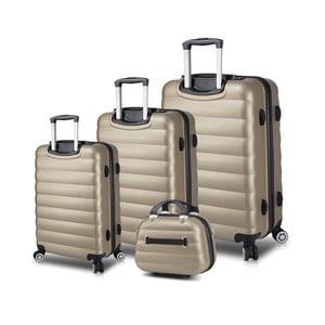 Sada 3 cestovních kufrů na kolečkách s USB porty a příručního kufříku ve zlaté barvě My Valice RESSO Travel Set