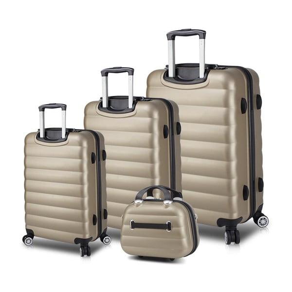 Zestaw 3 walizek na kółkach z USB i kuferka podróżnego w kolorze złota My Valice RESSO Travel Set