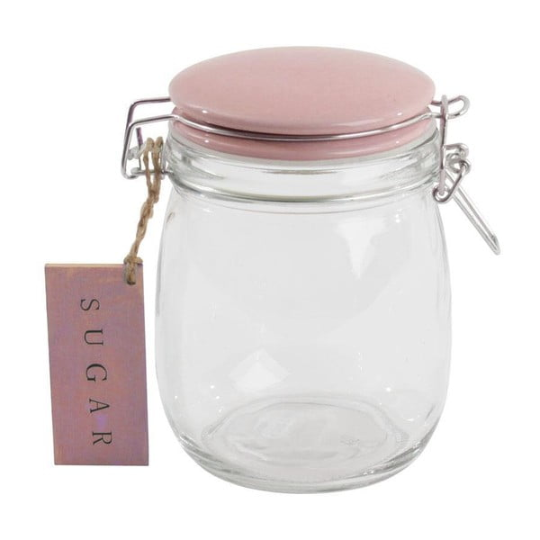 Skleněná dóza s růžovým víčkem Sugar, 750 ml