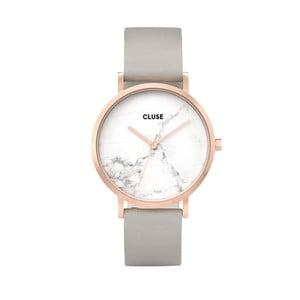 Dámské hodinky s šedým koženým řemínkem a mramorovým ciferníkem Cluse La Roche Rose