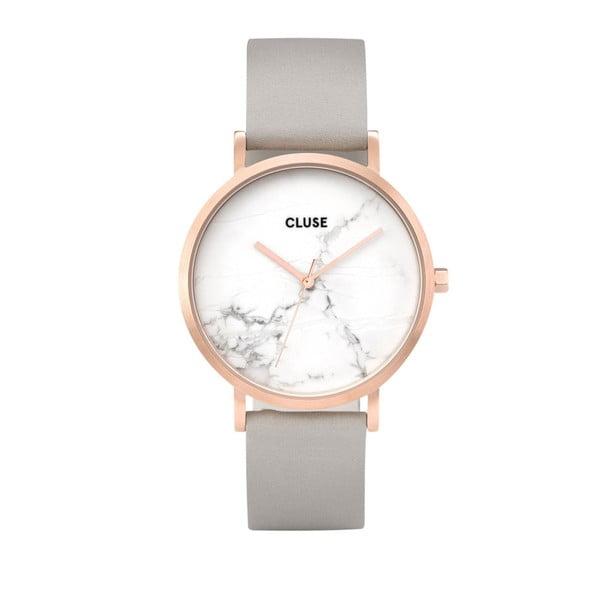 Dámske hodinky so sivým koženým remienkom a mramorovým ciferníkom Cluse La Roche Rose