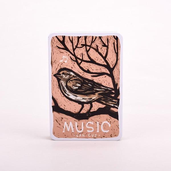 Plechový zápisník Music, růžový ptáček