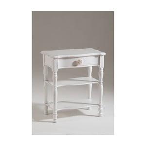 Bílý dřevěný noční stolek se zásuvkou Castagnetti Idee