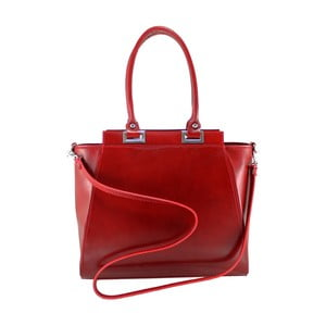 Červená kožená kabelka Chicca Borse Turmalina