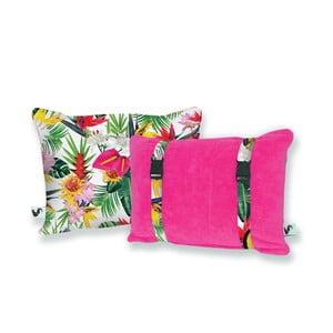 Růžový oboustranný plážový polštář Origama Tropic