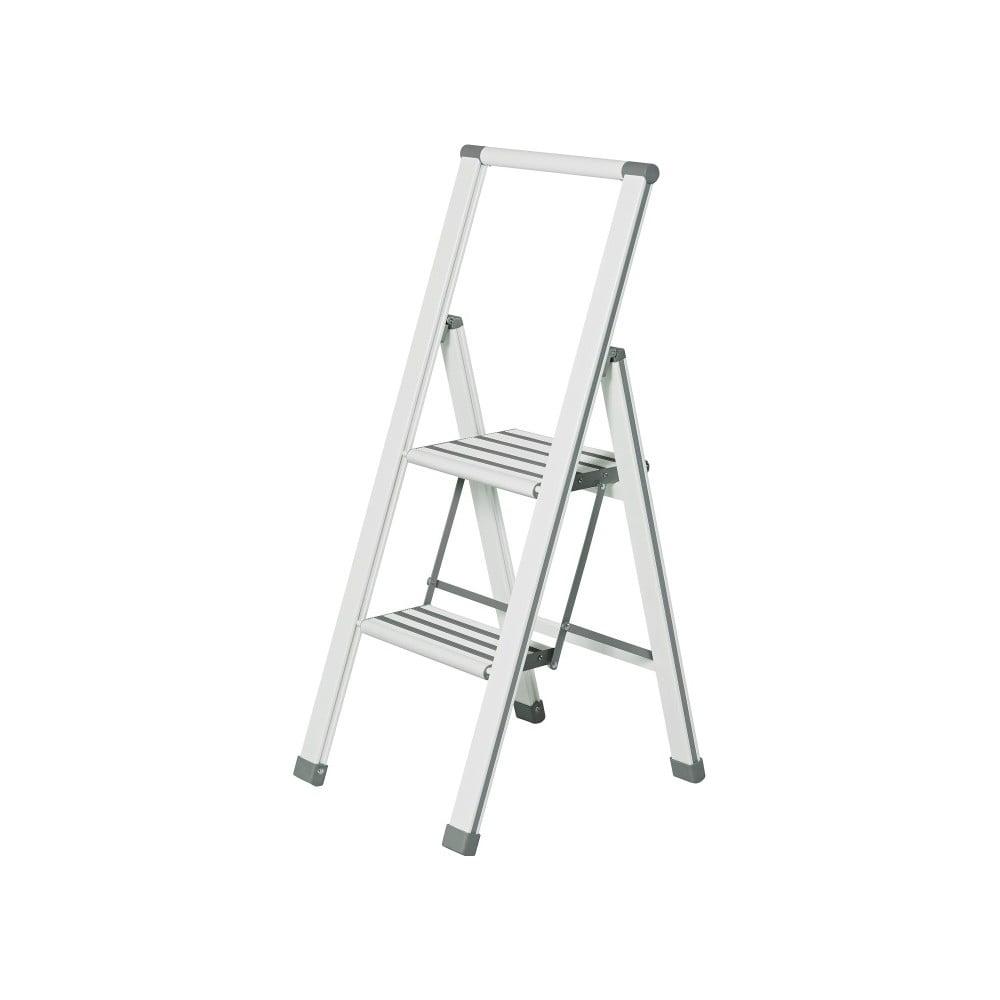Bílé skládací schůdky Wenko Ladder Alu, 101 cm