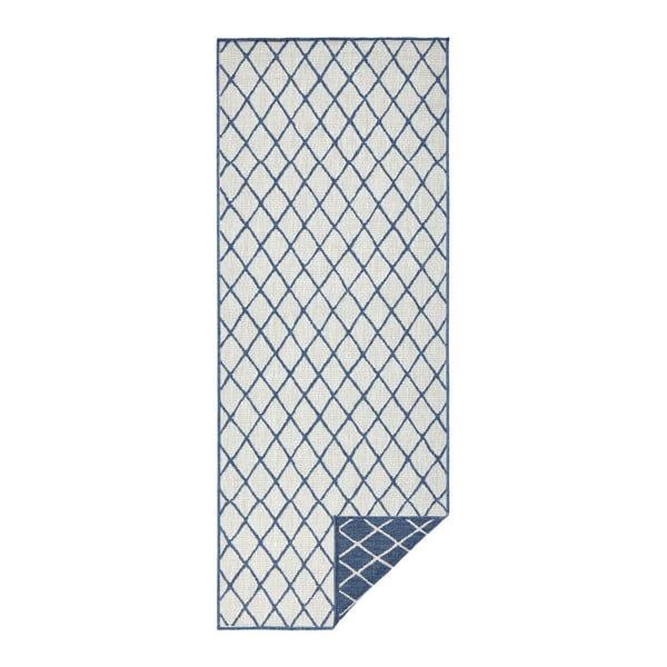 Covor adecvat pentru exterior Bougari Malaga, 80 x 350 cm, albastru - crem
