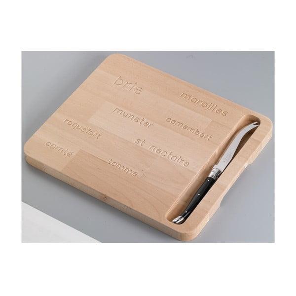 Set dřevěného prkénka s motivem jmen a nože na sýry sýrů Jean Dubost